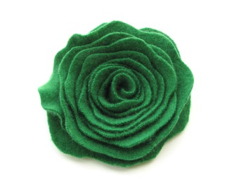 Rose Pin Emerald Green Cashmere Flower Pin Felted Wool Rose Brooch