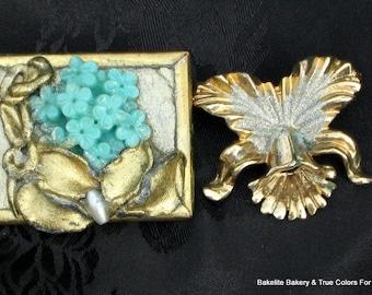 SaLe 5.00! Lot 2 Flower Power Vintage Brooches Pins Wear Modernist Destash Orchid Thermoset Supplies Unique Assemblage Crafts Jewelry Making
