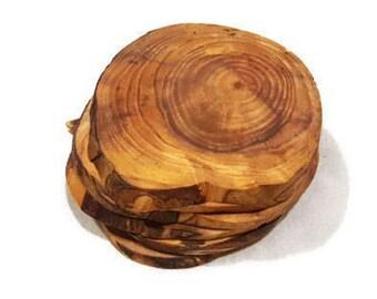 6 Log Slices finished Coaster set Wood round slice Trivet drink holder | Rustic laser engraved Wooden coasters | unique custom wedding gift
