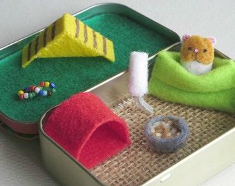 Hamster miniature felt stuffed animal- plushie -Altoid tin playset- handmade- sleeping bag ramp -house -play food -water bottle-felt animals