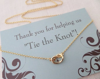 Gold, Silver, or Rose gold Love Knot necklace...Tie the Knot necklace ....dainty, everyday, simple, birthday,  wedding, bridesmaid jewelry