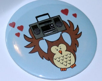 Say Anything Inspired Illustration - Magnet or Button, Boombox Serenade, Lloyd Dobbler, Owl Button, Owl Magnet, 80s, 1980s, Cult Classic