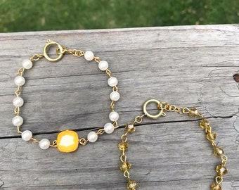 Citrine 12 mm Swarovski bracelet with 6 mm pearls