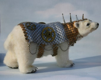 2013 TOBY Award Alpaca Needle Felted Steampunk Panserbjorne Armored Ice Bear with Whiting & Davis Armor OOAK Artist Bear