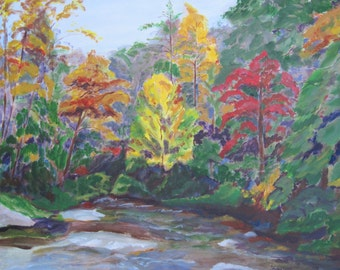 Mountain river scene, Conesauga River at Hickory Creek Trail, Georgia mountains, original painting, 20x24, by Shirley Lowe, mountain art