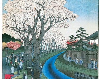 Hand-cut wooden jigsaw puzzle. TAMA RIVER JAPAN. Hiroshige. Japanese woodblock print. Wood, collectible. Bella Puzzles.