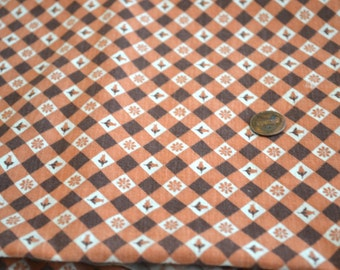 "1930's or 1940's Rust and Brown Flour/ Feed Sack Cotton Fabric 2 yards by 21"" across - Perfect Condition"