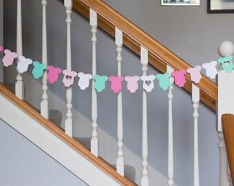 Baby onesie garland, baby shower banner, pinks, aqua, white