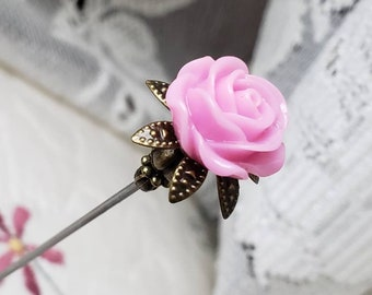 Victorian Antique Inspired Pink Rose & Filigree Brass Hat Pin Vintage Beads Stick Pin. DISPLAY or USE!