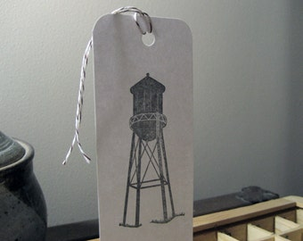 Water Tower Letterpress Bookmark - Brooklyn ~ Handmade ~ FREE shipping within the US ~