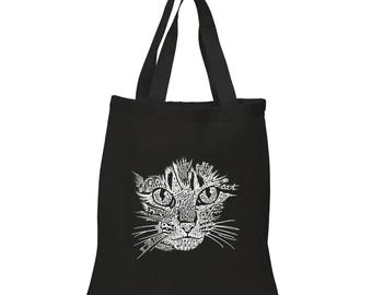 Small Tote Bag - Created out of Cat themed Words Cat Face