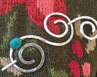 Shawl Slide/Pin/Brooch/Clasp Double Spiral with Genuine Turquoise