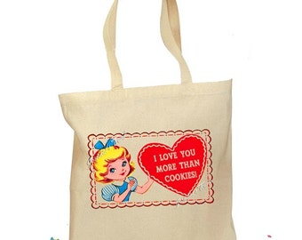 """Personalized """"Love You More Than Cookies"""" Bag Tote Retro Gift Canvas Vintage Heart Valentines 2 Sizes"""