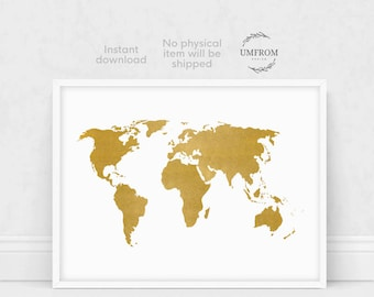 Gold world map world map gold world map poster world map gold world map print gold map print white and gold world map world gumiabroncs Choice Image