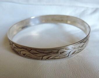 bangle bracelet sterling silver etched