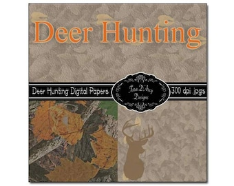 Deer Hunting Digital Scrapbooking Paper Pack - 12x12