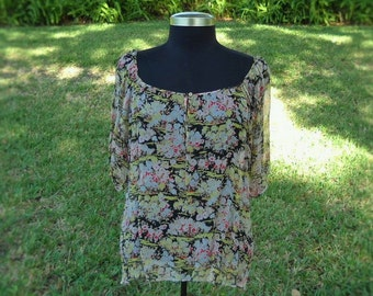 Joie Silk Peasant Blouse - Floral Peasant Blouse - Size Small