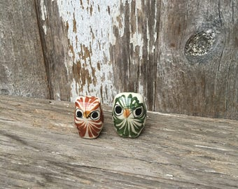 Pair of Little Hand Painted Pottery Owls, Mexico