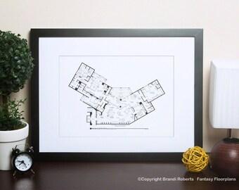 Frasier Apartment Poster - Blackline TV Show Floor Plan for Residence of Frasier Crane - Great gift!