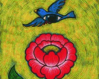 CROSS STITCH KIT, Eya Claire Floyd, Flower Bird, Modern art needlecraft, Genuine Dmc materials used, Counted Cross Stitch, Eye bird