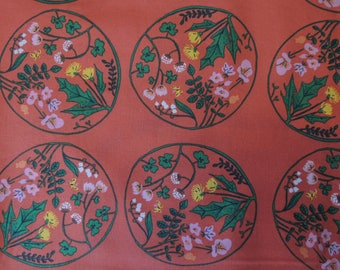 Fabric patchwork background red flowers medallions