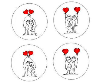 4 balloons loving couple cabochon, 20mm