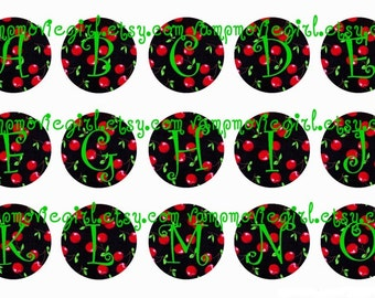 INSTANT DOWNLOAD...Wild Cherries Full Alphabet 1 Inch Circle Image Collage for Bottle Caps...Buy 3 get 1