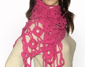 Pink Crochet Scarf, Pink Crochet Lace Scarf Women's Dusty Pink scarf OOAK Crochet Scarf