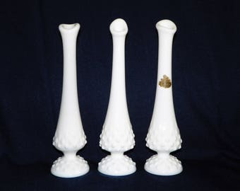 Fenton Hobnail Milk Glass 9 1/2 Inch Swung Bud Vase, Your Choice of 3 Vases or the Whole Set, MINT Condition