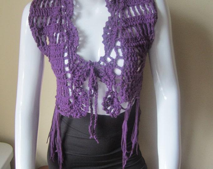 Crochet vest, cropped, Fringe vest, PURPLE, festival clothing, gypsy, boho, cotton