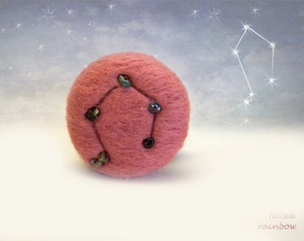Gifts for Libra, Needle felted brooch, Libra Constellation Personalised jewelry, Libra Zodiac, Pink Libra brooch, Tourmaline stones