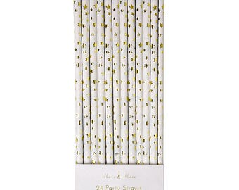 Paper Straws | Party Straws | Gold Star Straws | Gold Foil Straws | Straws | Gold Straws | Star Straws | Party Straws | Gold | 24 Per Pack