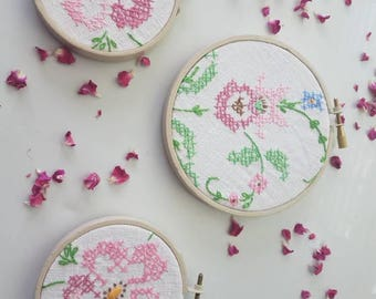 Embroidery hoop wall hanging pink flowers