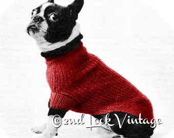 Vintage Knitting Pattern 1950s Mod Dog Beatnik Sweater Digital Download PDF