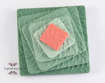 Polymer Clay Button (1), Green, Orange, 3.2 cm