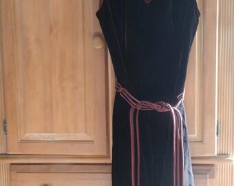 REDUCED Vntg 70's Plw Designer Brown Velvet Mandarin Inspired Belted Sleeveless Dress
