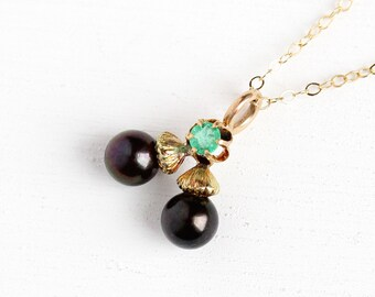 Antique Acorn Necklace - 1900s Edwardian 14k Rosy Gold Stick Pin Conversion Pendant - Victorian Genuine Emerald Black Tahitian Pearl Jewelry
