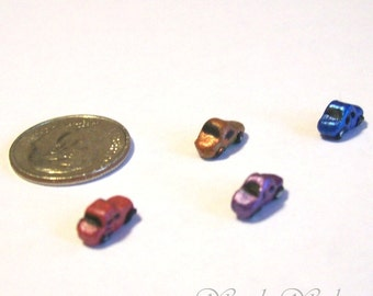Micro Matchbox Cars Set of 4 Metallic Colorful Hand Formed Dollhouse Scale Miniature Toy Cars