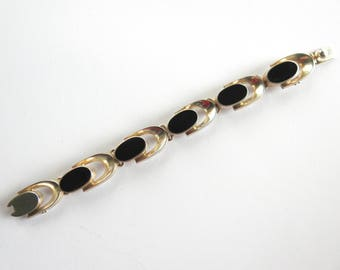 Vintage Mexican Sterling Onyx Bracelet