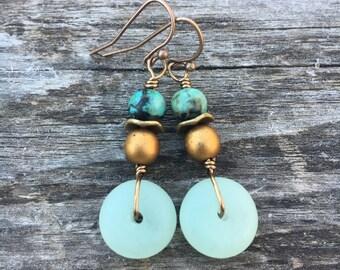 Boho Earrings, Sea Glass Earrings, Mint Green Earrings, African Turquoise Earrings, Dangle Earrings, Unique Earrings
