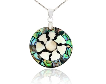 Buddhist Wheel of Life Maori Mother of Pearl and 92.5 Sterling Silver 18 in Necklace