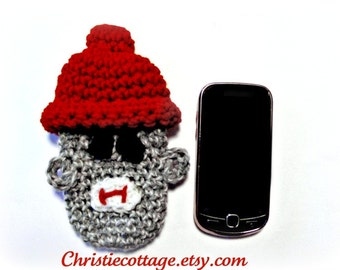 Sock Monkey Cell Phone Pouch, Crochet Pattern. PDF Pattern