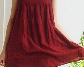 ON SALE 30% off, D17, Easy Going Summer Dark Red Cotton Dress, red dress