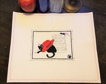 """Vintage Calico Cross Stitch Placemat: """"Hats 'n Cats"""", 12x18"""""""