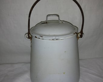 Antique White Enamel Bucket with Bale Handle