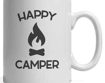 Happy Camper Campfire Mug - Hiking Funny Tent Tribal Camping Mom or Dad Gift for Hikers Summer Road Trip Lovers! Teepee RV Trailer Camp Fire
