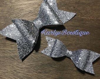 Silver mirror Hair Bows