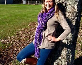 Purple Knit Fringe Scarf - Purple Fringe Scarf - Art Scarf - Long Knit Scarf - Gift for Her - Women's Accessories