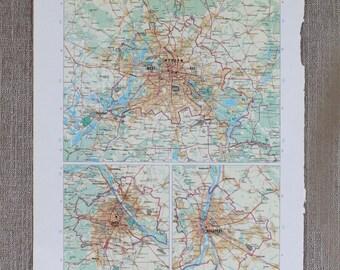 City Map Berlin, Vienna, Budapest Original Print