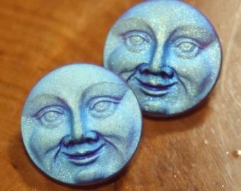 Czech Glass Button, Man on the Moon, Small, 18 mm